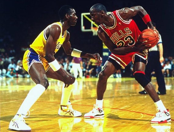 Michael Jordan Sizing Up Opponent in 1989 Fire Red Jordan 4