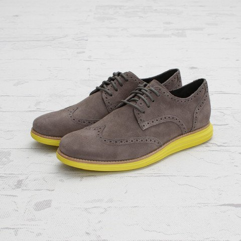 Cole Haan LunarGrand Wingtip Charcoal Grey Suede at Concepts