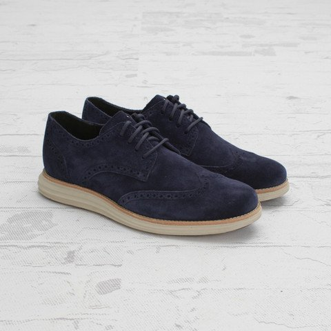 Cole Haan LunarGrand Wingtip Navy Suede at Concepts