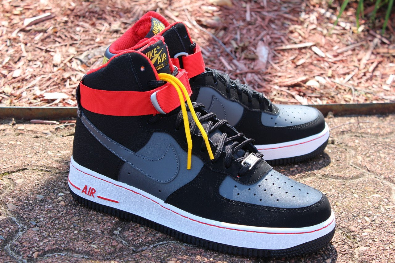 detailed look ae39d 0f500 Nike Air Force 1 High  Black Dark Grey-Red-Gold