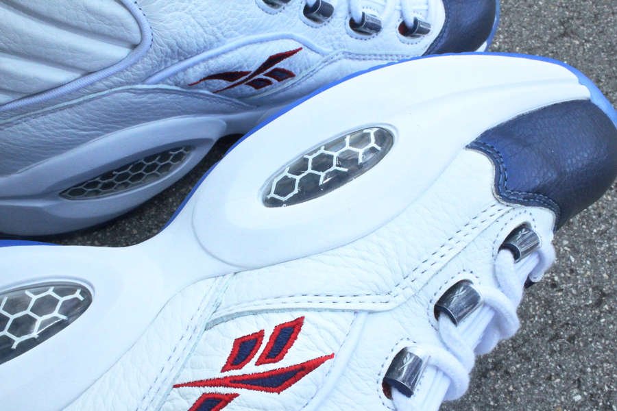 Reebok Question Mid 'White/Pearlized Navy/Red' at Mr. R Sports