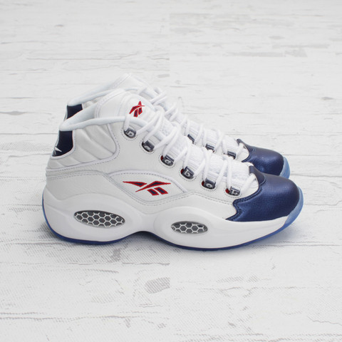 Reebok Question Mid (White/Pearlized Navy/Red) at Concepts