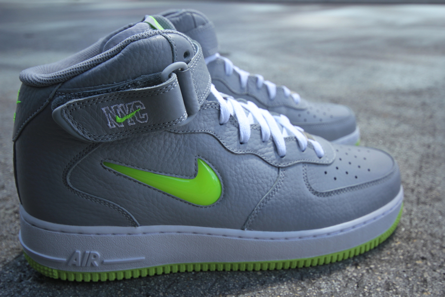 Nike Air Force 1 Mid Jewel NYC 'Wolf Grey/Volt' at Mr. R Sports