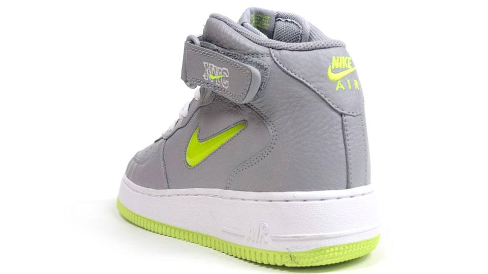 Nike Air Force 1 Mid Jewel NYC 'Wolf Grey/Volt' at mita