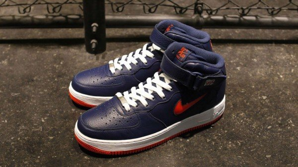 huge selection of a51d3 7f51c Nike Air Force 1 Mid Jewel NYC  Midnight Navy Team Orange  - Release