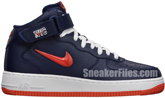 Release Reminder: Nike Air Force 1 Mid Jewel NYC 'Midnight Navy/Team Orange'