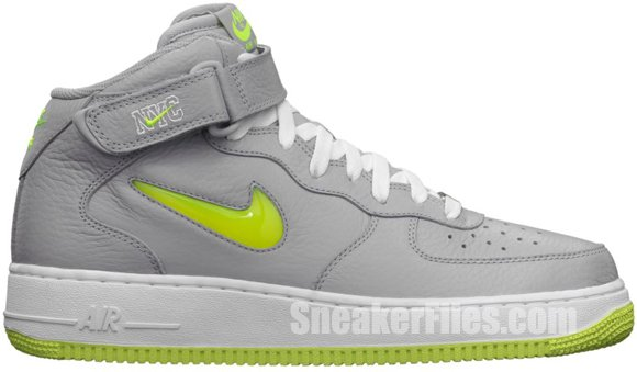 Release Reminder: Nike Air Force 1 Mid Jewel NYC 'Wolf Grey/Volt'