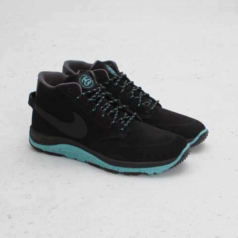Stussy x Nike Lunar Braata Mid OMS 'Black/Anthracite-Sport Turquoise'