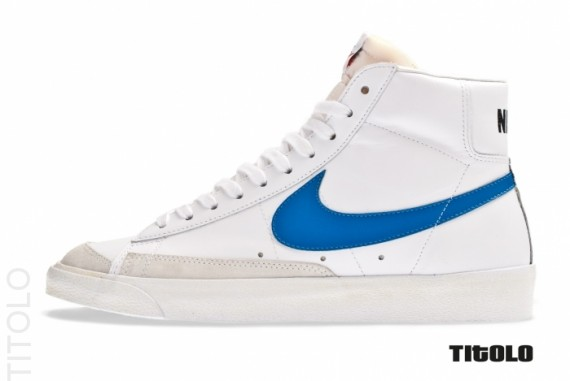 nike blazer vintage mid 77 white blue premium leather shoes