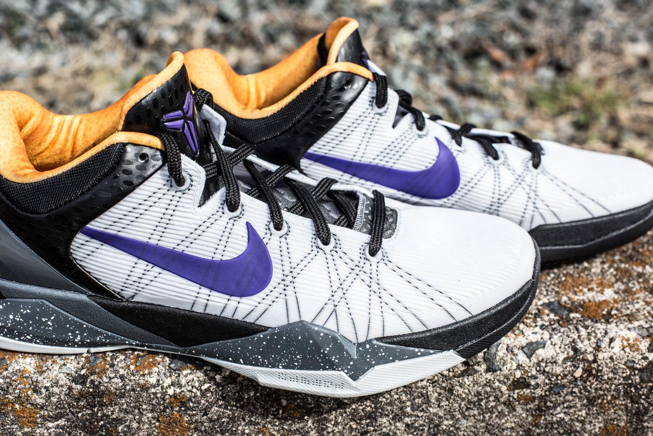 Nike Kobe VII (7) 'White/Court Purple-Black-University Gold' at Social Status