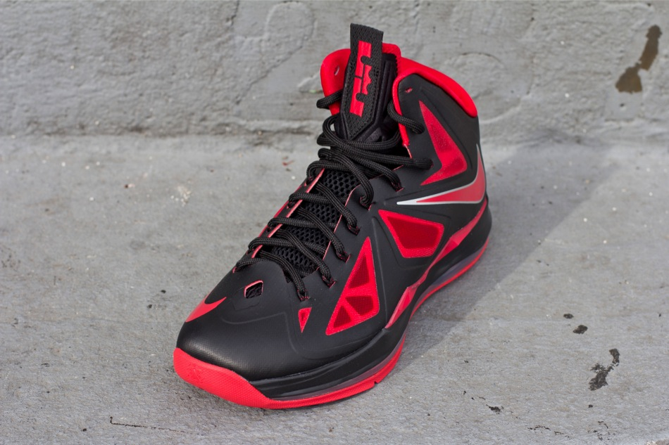Nike LeBron X (10) 'Black/University Red-Metallic Silver' at Oneness