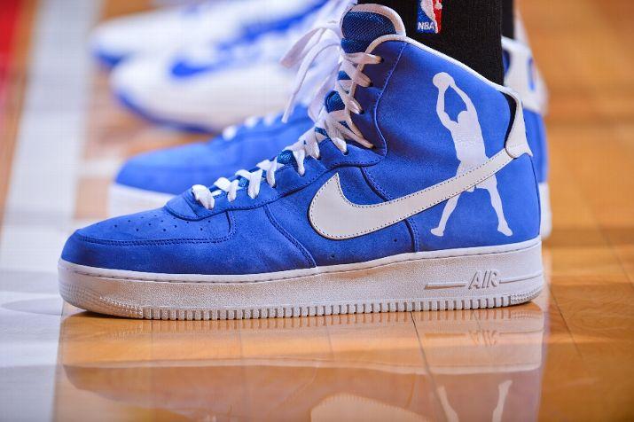 online retailer 54842 04839 Rasheed Wallace Dons Royal Blue Nike Air Force 1 High PE