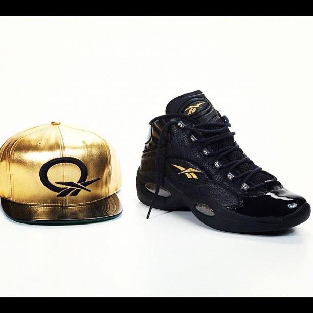 Reebok Question Mid 'Black/Metallic Gold'