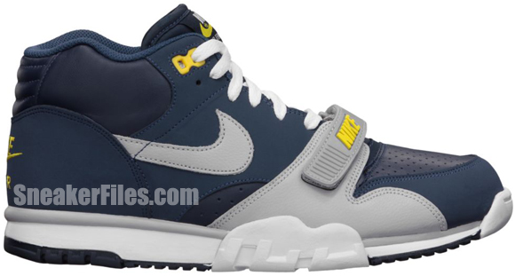 Release Reminder: Nike Air Trainer 1 Mid Premium 'Midnight Navy/Wolf Grey-Obsidian-Tour Yellow'