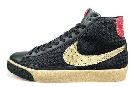 size 40 468c6 4cb07 high-quality Nike Blazer Mid Premium Black Red Metallic Gold