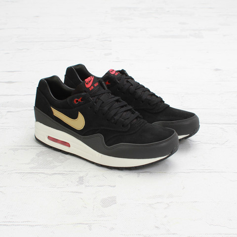 quality design 402ac 7a2dd Nike Air Max 1 Premium  Black Metallic Gold-Hyper Red-Sail    Concepts