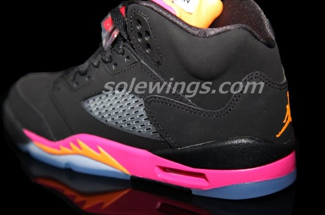 Air Jordan V (5) GS Black/Bright Citrus-Fusion Pink