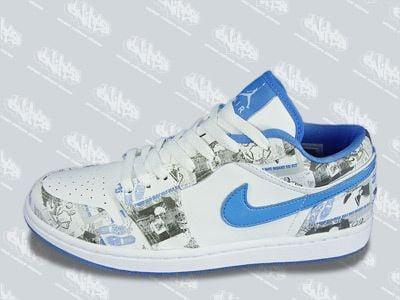 New Air Jordan Retro 1 Low Womens White University Blue ...
