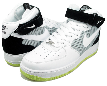Nike Air Force 1 Mid 07 White Black Neon Yellow