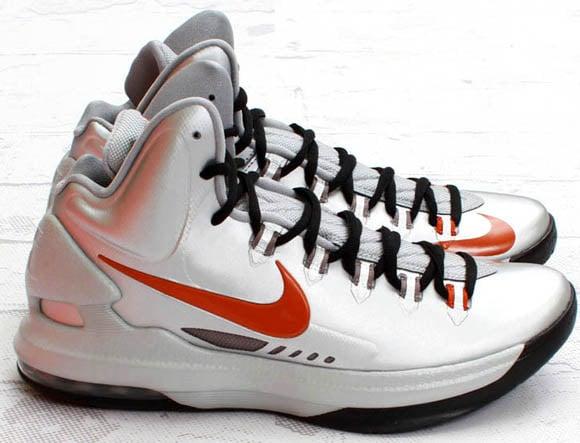 Nike KD 5 Texas Sneakers (Metallic Silver/Desert Orange-Sport Grey)