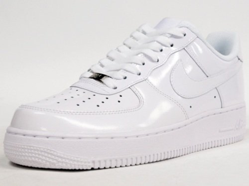 Nike Air Force 1 En Cuir Verni Blanc