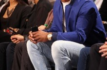 Celebrity Sneaker Watch: Victor Cruz Sits Courtside in White Foams
