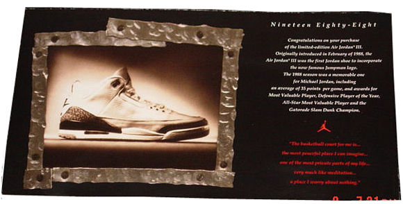 1994 Air Jordan 3 Retro Card