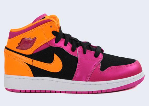 Air Jordan 1 Mid GS Black Fusion Pink Bright Citrus