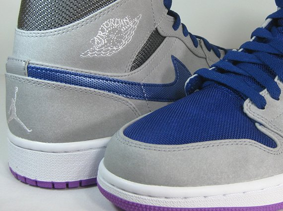 Air Jordan 1 Mid Matte Silver Laser Purple Deep Royal Blue