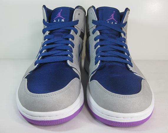 Air Jordan 1 Mid Matte Silver Laser Purple Deep Royal Blue