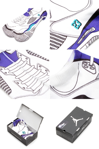 Air Jordan Retro V (5) Grapes Sublimated Bootie Socks