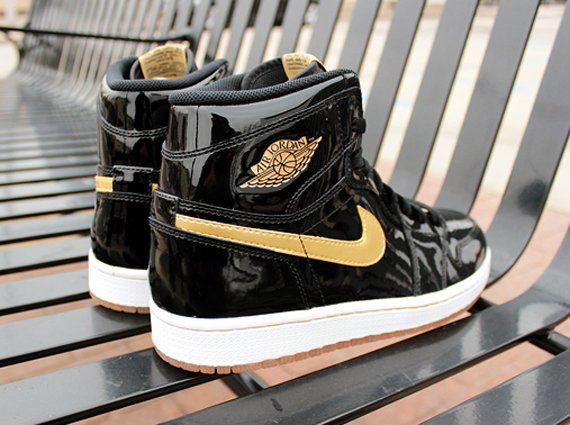 af4772075c14 85%OFF Black Metallic Gold Air Jordan 1 Jordan Brand Classic ...
