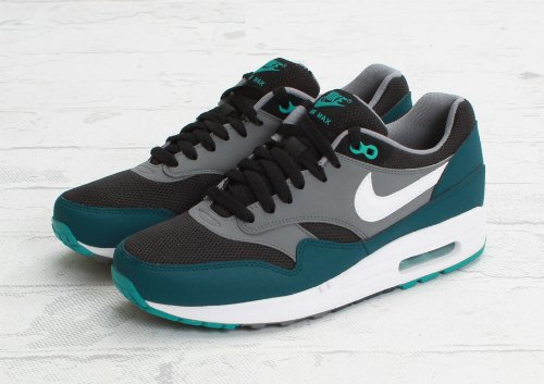 nike air max 1 essential black-mid turquoise sneakers