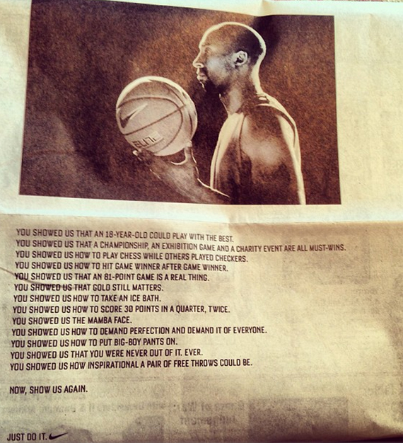 Nike Honors Kobe With Now, Show Us Again Ad