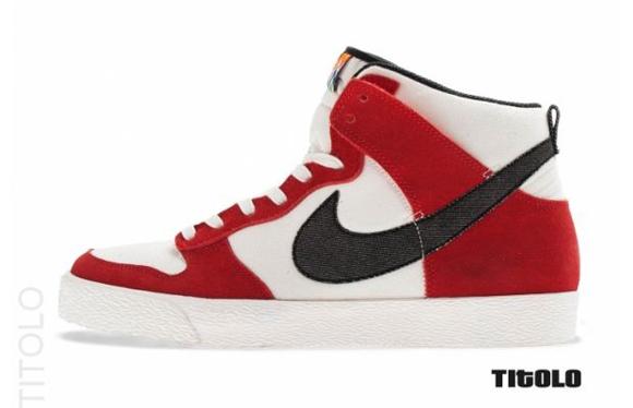 Nike Dunk High AC Sail Black University Red