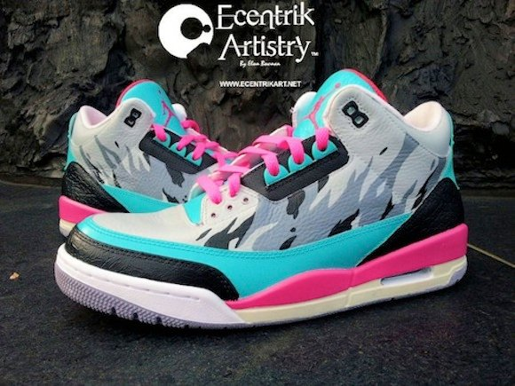 Air Jordan III 3 Hot Nights In Miami Customs by Ecentrik Artistry