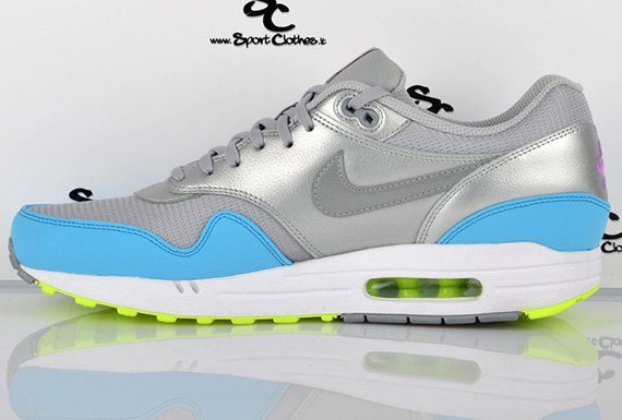 Now Available Nike Air Max 1 FB Metallic Silver Current Blue