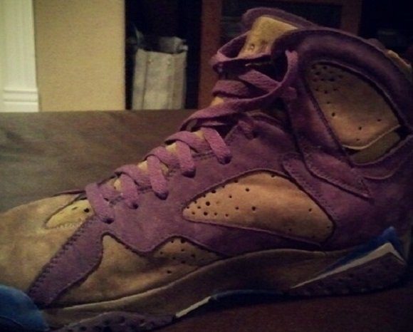 Teaser Air Jordan VII 7 Tan Purple Sample