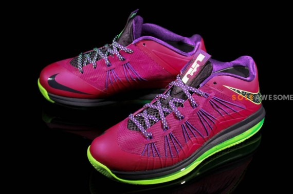 Nike LeBron X Low Red Plum Electric Green Black 02