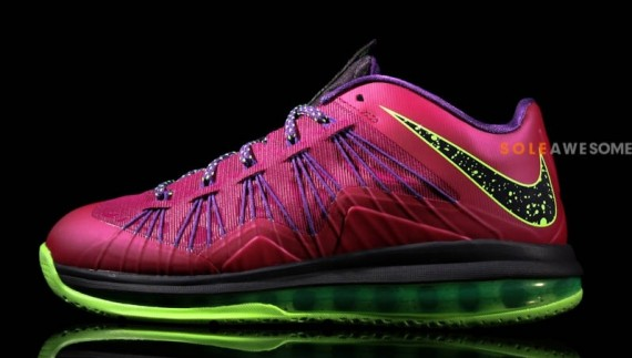 Nike LeBron X Low Red Plum Electric Green Black