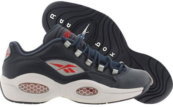 Reebok Question Low Navy Steel Red Silver