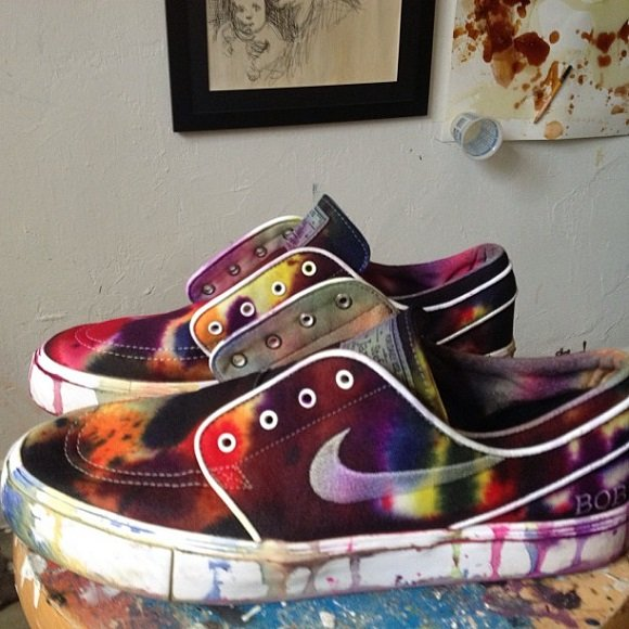 Customized Greatly Nike SB Zoom Stefan Janoski Tie Dye Custom Make For The Man Himself