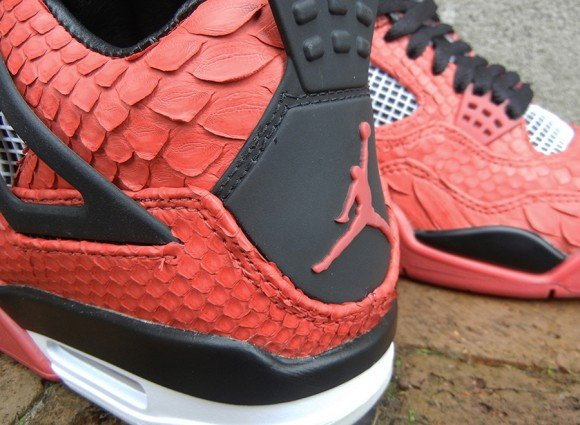Fire Red Python Air Jordan IV Customs by JBF