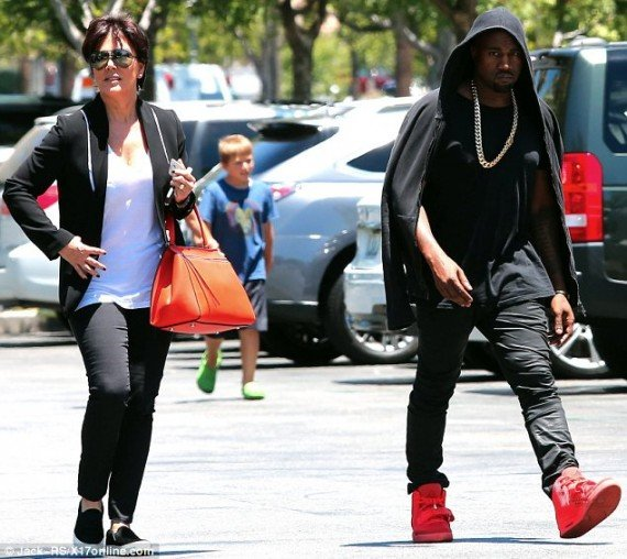 Kanye West in Air Yeezy 2 Red October