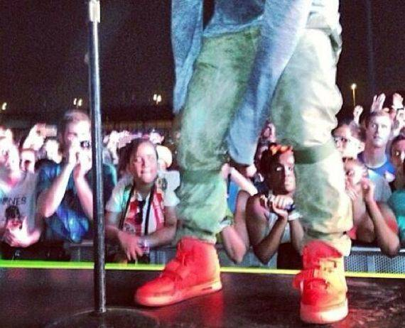 Kanye West Rocks Red Air Yeezy 2