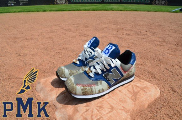 New Balance 574 Brooklyn Dodgers for DJ Clark Kent by PMK Customs