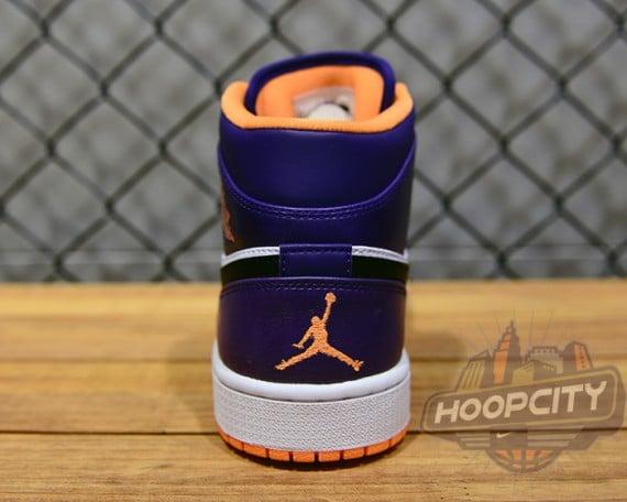 Air Jordan 1 Mid White Bright Citrus Court Purple Black