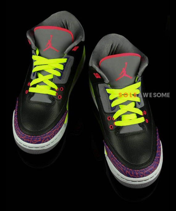 Air Jordan III GS Black  Purple Volt  Yet Another Look