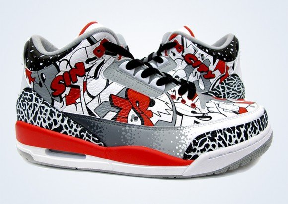 Air Jordan III Sin City Customs by Sekure D
