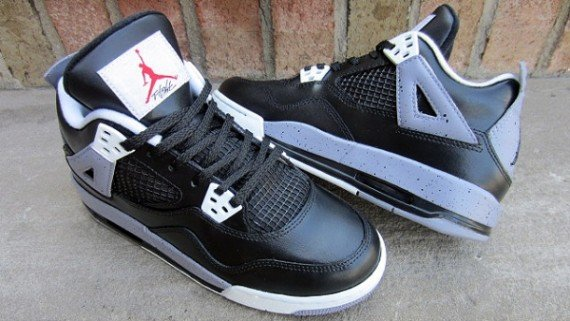 Air Jordan IV GS Black Cement Customs by FETTi D'BIASI